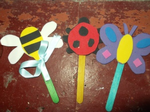 Funky foam / lolly stick decorations for plant pots: bee, ladybird, and butterfly